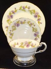 Paragon England HIGHLAND QUEEN  Breakfast TRIO Plate Cup & Saucer Purple Thistle