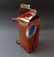 Unusual Quirky Vintage Art Pottery Milk Carton Jug Brown Blue Cow Shape Hooves