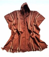 Men's Alpaca Llama Wool Hooded Poncho Light and Warm in Natural Colors Ethnic