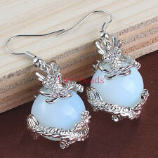 Silver Plated Opalite Opal Round Beads Wire Wrap Dragon Ball Hook Dangle Earring