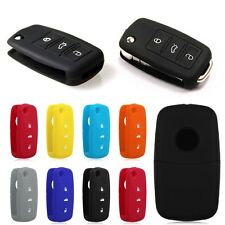 Seat Skoda Flip Key Case Cover Car Silicone Skin Rubber VAG Passat Bora For VW