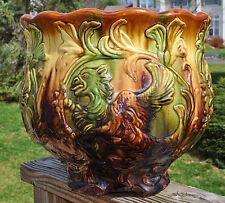 "Superb Large Antique Owens Art Pottery Rare Griffon Blended Glaze Jardiniere 13"""