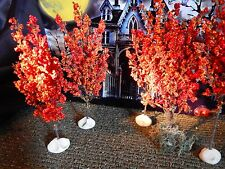 Set 5 HALLOWEEN Fall ORANGE TREES Village Display Dept 56 New England Autumn