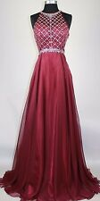 Sheer Rhinestones Sequins beaded Long Evening Formal Gown prom party dress
