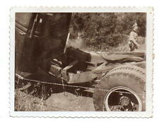 Policeman with Sidearm & Wrecked Tractor Trailer Rig Photo 1940s