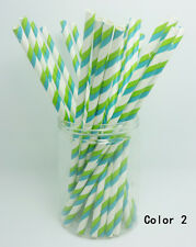 25 PCS Colorful Diagonal Striped Paper Drinking Straws Wedding Birthday Color 2