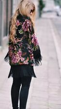 NWT  BLACK  FLORAL  JACKET KIMONO DEVORE FRINGED MEDIUM M BLOGGERS