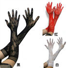 Fashion Womens Stretch Lace Opear/Long Length Gloves Black White Red 3 Colors