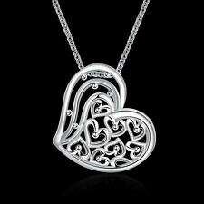 """18"""" 925 Silver Plated Luxe Hollow Love Hearts Series Ladies Cocktail Necklace"""