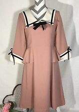 Banned Apparel Dusty Pink Retro Pin Up Rockabilly School Dress Size Large NEW
