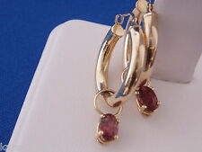 Pink Tourmaline Earring Charms14k Gold  Interchangeable with Loops Nature Stones
