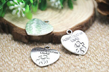 8pcs- autism touches us all Charms, silver heart Charm pendants 25x23mm