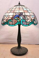 Large Vintage Tiffany Style Lamp Stained Glass Shade with Antique Bronze Base
