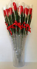 36 - 15 INCH LONG STEM ROSES IN VASE WITH BABY BREATH FLOWER PETALS & RED RIBBON