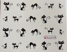 "Halloween 3D Nail Art Sticker Black ""Cats"" Tips Water Decal Nail Decoration 2199"