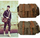 Men's Vintage Canvas Leather School Military Shoulder Bag Messenger Bag