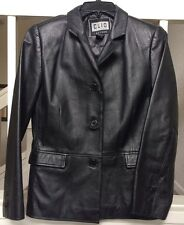 Clio Petites Black Genuine Leather Lined Womens Jacket Size 4 ������