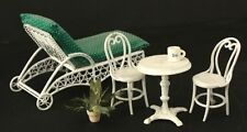 White Metal Patio Furniture Doll House Miniatures 1/12 Scale Chaise Lounge