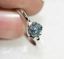 0.54 ct Natural greenish blue Uncut Rough Raw Diamond ring Engagement 925 Silver