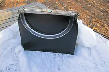 VTG Edwards Handbag Two In One Black Faux Leather & Canvas Plastic Handle USA