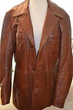 VTG Reed Mens Brown Leather Jacket Coat Size 42 Fight Club 60's 70's EUC