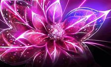 ABSTRACT - STUNNING PINK FLOWER Large Wall Art Canvas Picture 20 x 30 Inch