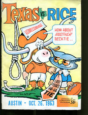 1963 Texas Longhorns v Rice Owls Football Program 10/26/63 Chase Ex 22000