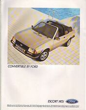 PUBLICITE ADVERTISING 034 1984 FORD Escort XR3I  convertible