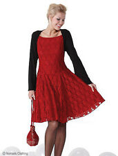 Damen 50er Retro Weihnachten Rot Spitze Rockabilly Party Tanz Abiball 12-14 M
