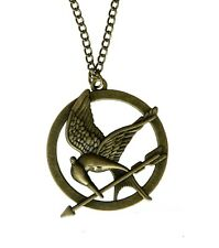 Antique Bronze Hunger Games Mockingjay Bird Katniss Gift Necklace Pendant UK
