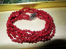 Lovely sparkly knotted 5mm Brazilian raw ruby 3 strand necklace