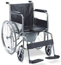 All-In-1 Shower Commode Transport Wheelchair Padded Bath Seat and Commode Bucket