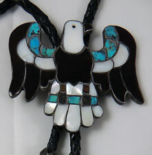 Zuni Unsigned CG WALLACE MASTER Large Eagle Bolo w Matching Tips Mosaic Inlay