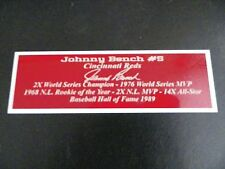 Johnny Bench Nameplate Cincinnati Reds Autograph Photo Bat Hat Jersey