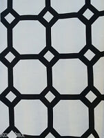 Linen Fabric By the Yard Black Geometric Print - Upholstery Home Decor