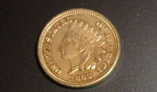old Indian Head penny coin 1863 AU needle sideburns and through ear
