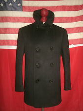 Vtg U.S. Navy KERSEY 8 Buttons Corduroy Pockets Man's 100% Wool Pea Coat.Size 36