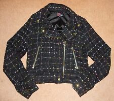 Yumi Black Multicoloured Rainbow Sparkle Glitter Biker Jacket S 8 10 Gothic 90s