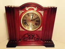 Mantel Shelf Clock Lacquered Red Wood Home Office Decor