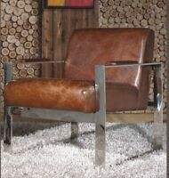 Vintage Echtleder Sessel Edelstahl Ledersessel Design Lounge Büro Stuhl NEU 445
