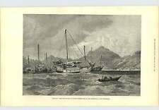1877 Nagasaki From The Sea Picture Col Walter Fane Engraving