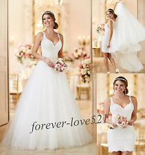 New 2-in-1 Removable Wedding Dress Bridal Gown Custom Size 4-6-8-10-12-14-16-18+