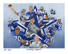 "Dallas Cowboys Legends LE #/500 8""x10"" art print Aikman Staubach Dorsett Landry"