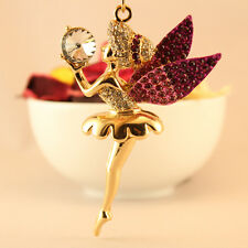 Angel Wing Ballet Girl Pink Keychain Rhinestone Crystal Key Pink Cute Gift 01183