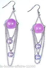 BOUCLES D'OREILLES FANTAISIE PENDANTE chaîne avec perle violette nacré tendance