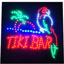 "Large 19x19"" Bright Animated TIKI BAR Beach Open Pub LED Sign Display Light neon"