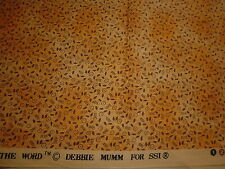 Cotton Fabric SSI Debbie Mumm  Little Black Seed Motifs on Gold Mottled 1YD18