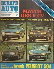 EUROPE AUTO 1971 54 PEUGEOT 504 BREAK PEUGEOT 304 JAGUAR TYPE E MATCH DES 9CV