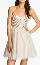 AQUA ~ Beige w/ Gold Sequins Tulle Skirt Formal Cocktail Dress 12 NEW $188