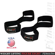 Weight Lifting Figure 8 Straps Padded Support Training Gym Fitness Black